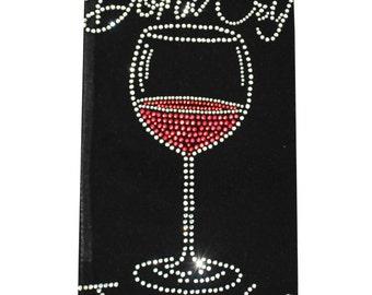 "Rhinestone ""Don't Cry, Just Wine"" Wine Bag"