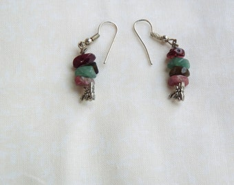 Garnet & Mixed Tourmaline Earrings with Dragonfly accents