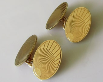 9ct Gold Oval Sunburst Cufflinks