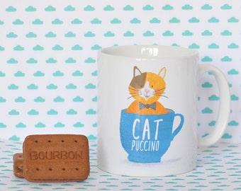 Cat coffee cappuccino catpuccino pun mug