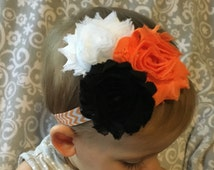Oklahoma State Baby Headband, Orange and White Chevron with Black, Orange and White Shabby Flowers, Adjustable- Fits newborns through adults