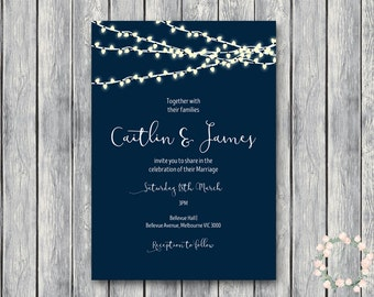 Personalized Night String Lights Wedding Invitations, Navy Blue Sky, Night Lights Engagement Party Invitation, Bridal Shower Invitation TH65