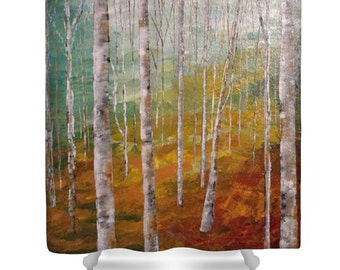 Shower Curtain, Birch Tree Forest, by JA Cahill Art