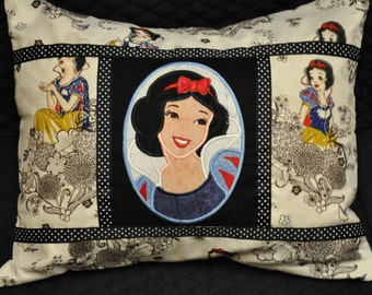 "12"" x 16""  Princess Snow White Cameo Embroidered Appliqued Decorative Pillow"