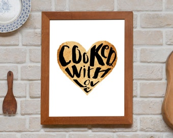 Cooked with love | Quote art print, kitchen decoration, printable art, instant download of a quote for the kitchen, watercolor art print