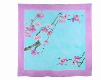 Mint and pink floral silk scarf