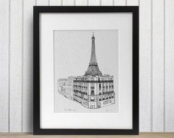 Eiffel Tower Paris doodle print