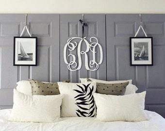 Large Wooden Monogram Wall Hanging Painted Initials Photo Prop Graduation  Gift Wedding Nursery Bedroom Baby Dorm