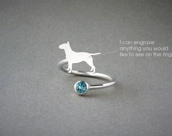 Adjustable Spiral BULL TERRIER BIRTHSTONE Ring / Bull Terrier Birthstone Ring / Birthstone Ring / Dog Ring