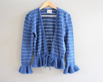 Blue Polka Dot Ruffle Cardigan / Tie up Cardigan / Retro / Blue  Sweater / Polka Dot Cardigan / Vintage 80s  / Size S - M