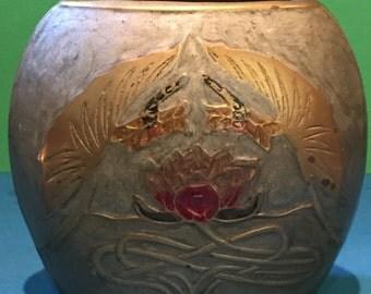 VINTAGE BRASS Enameled SIGNED Vase  By A. Dellaux