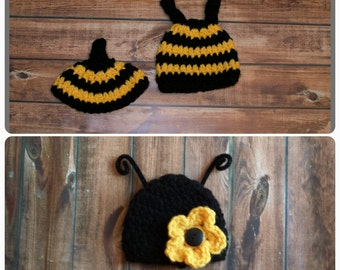 Bumble bee hat, bee hat/ newborn bee set, baby bumblebee, hat and butter cover