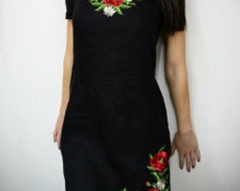 "Dress ""Poppies"" (linen black)"