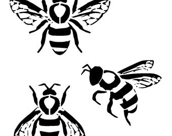 """12/12"""" Bumble bee collection stencil."""