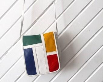 Vintage 90's Leather Color Block Crossbody Purse