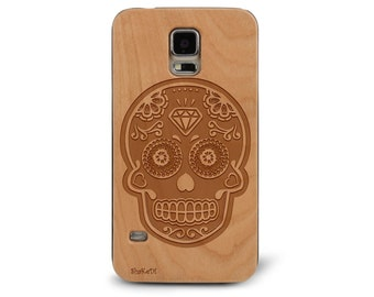 Laser Engraved Plumeria Floral Sugar Skull on Genuine Wood phone Case for Galaxy S5, S6 and S6Edge S-036