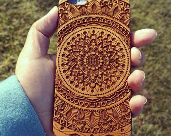 Laser Engraved Doodle Zentangle Inspired Mandala with Aztec Theme on  Genuine Wood Cell phone Case for Apple iPhone  IP-056