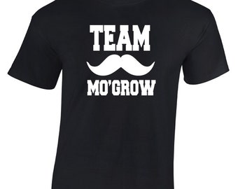 Team Mo'Grow Moustache Movember T-Shirt. Funny Moustache T-Shirt  Moustache Gift. Movember Shirt. Moustache Shirt.