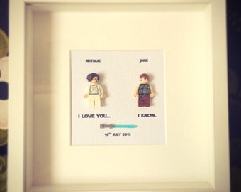 Star Wars I love you... I know Princess Leia and Han Solo Lego replica  Personalised Wall Art Box Frame Picture Engagement or Wedding Gift