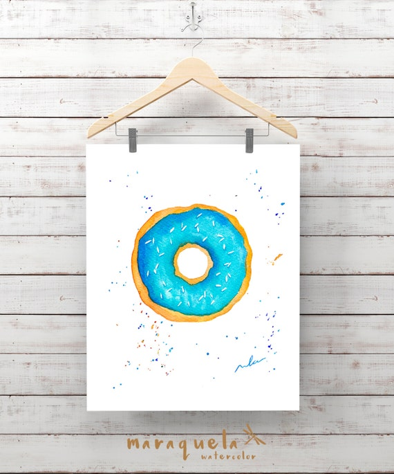 DONUT illustration in watercolor, Light BLUE doughnut. Bright and vibrant colors. Modern decor art wall.Fashion Room Decor, cake, wall decor
