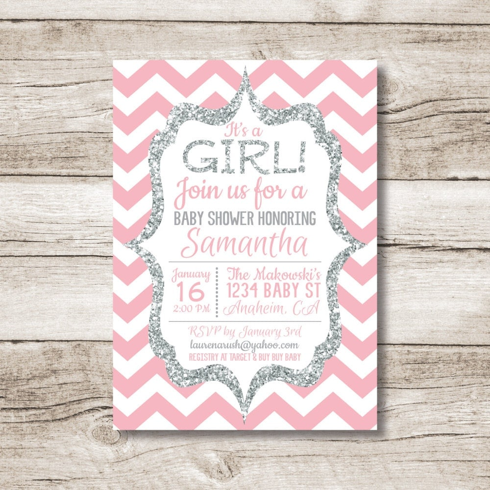 baby shower invitation girl pink chevron and silver