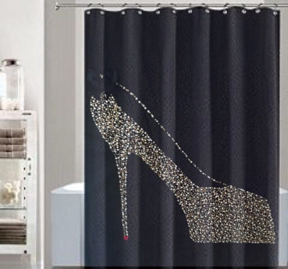 Black shower curtain gold rhinestone shower by lnikkolehome for Black bling bathroom accessories