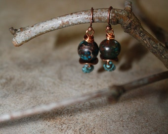 109 Imperial jasper and oxidized copper charm dangle earrings, Boho , Artisan, wire wrapped