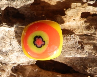 Orange, Yellow and Green Flower Fused Glass Ring