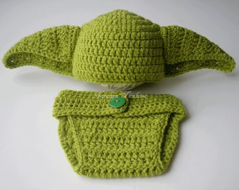 Star Wars Crochet Yoda Baby Boy Hat and Diaper Cover/Master Yoda Baby Hat From Star Wars For Boy/Newborn Crochet Photo Prop