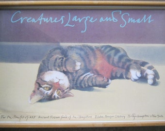 Very Rare Milton Glaser Creatures Large and Small 36 x 24 Framed.