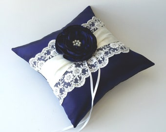 SALE!!! Royal Blue Flower Wedding Ring Pillow, Ring Bearer Pillow, Satin and Lace