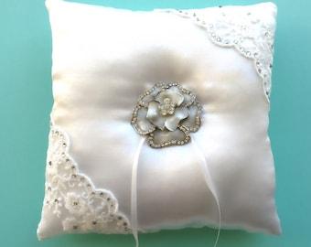 White Ring Bearer Pillow, Rhinestone Accent