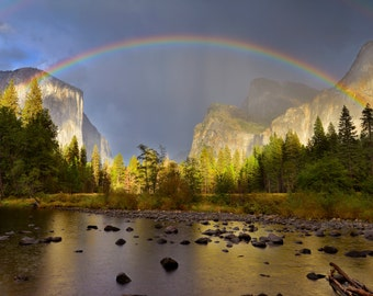 Rainbow Over Yosemite Valley, Yosemite Valley Photograph, Collectible Fine Art, Signed, Michael Ambrose Photography, Home and Office Decor