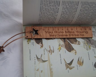 Wooden bookmark, teachers gift, wooden ruler, personalised teachers gift, affordable gifts, engraved bookmark, nursery gift, childs gift