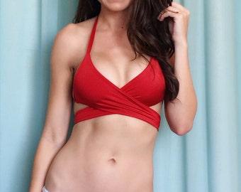 Red Wrap Bikini Top
