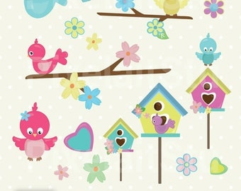 Cute Birds, Clip Art Graphics Set, Birds, Digital Clip Art, Commercial Use, Digital Download - PCL112