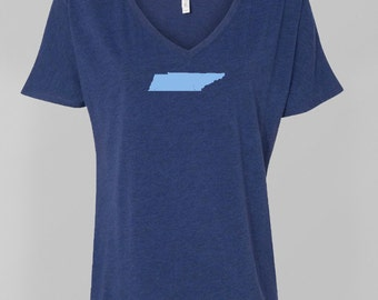 Tennessee Womens Flowy V-Neck T-Shirt, Tennessee Titans Colors, Woman Sports Fan