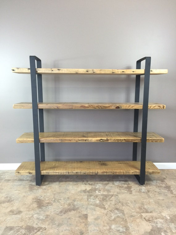 Reclaimed wood shelf shelving unit with 4 by barnxo on etsy for Barnwood shelves for sale