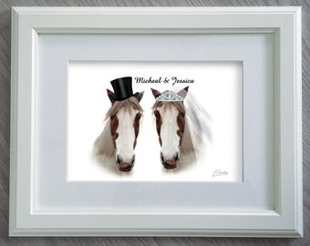Wedding Gift Personalized - Funny wedding gift - Mr & Mrs horse Print - Wedding gift ideas - Wedding Gifts for Couple - Horse Gifts