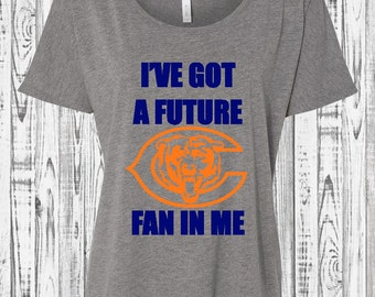 Future Bears Fan-Pregnany Reveal!- Women's Slouchy Tee- In white or grey with navy and neon orange vinyl graphic- S-XL not maternity.