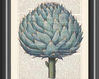 vintage artichoke Basilius Besler art print kitchen decor wall art dictionary botanical print wall art gardening gift #100