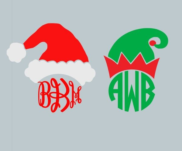 santa hat and elf hat monogram toppers svg dxf ai eps and