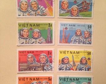 Astronaut vintage stamp set, Vietnam