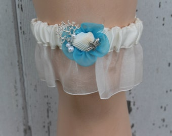 Ivory Beach Themed Garter with Turquoise Tulle and Shells/ Bridal Garter
