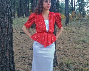 30% OFF Red and White Peplum Dress with Floral Polynesian Print; Hawaiian Print 1940s Style Dress; 80s does 40s 1980s