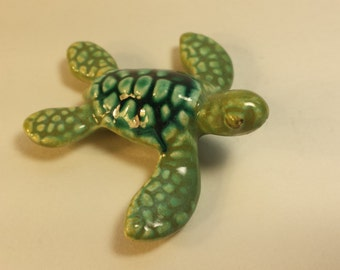 Ceramic Turtle Figurine, Vintage Turtle Figurine, Reptile Figurine, Animal Figurine