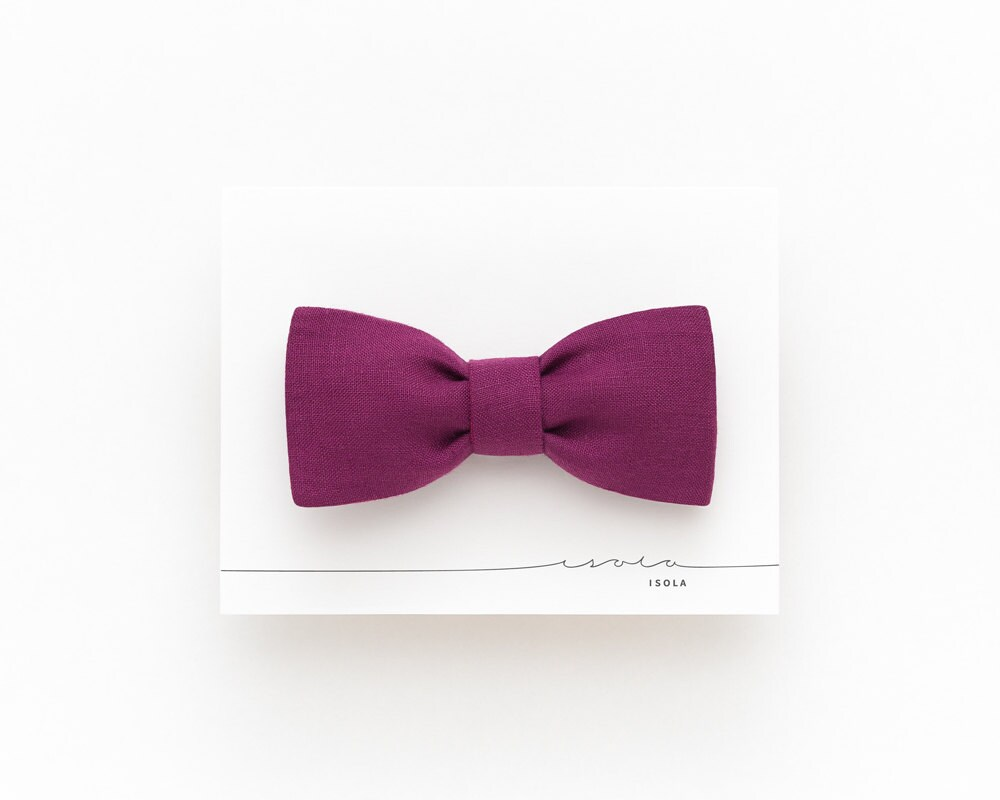 plum linen bow tie magenta bow tie for plum wedding bow
