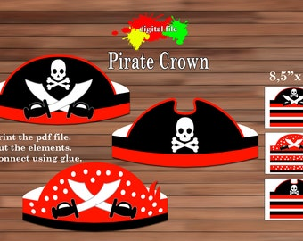 Pirate Paper Crown, PDF,  Instant Download