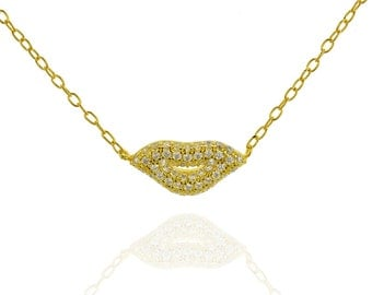 Kiss Necklace, Gold lips Necklace