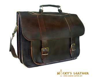 Men Leather MESSENGER BAG  from 100% Full Grain Leather in Brown color